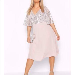 Boohoo Silver Sequin Midi Dress